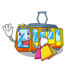 Shopping electric train isolated with cartoon vector