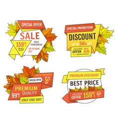 Shopping signs with info about sales price tags vector