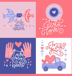 st valentine s greeting cards set abstract modern vector image