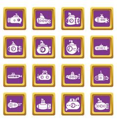 submarine icons set purple square vector image