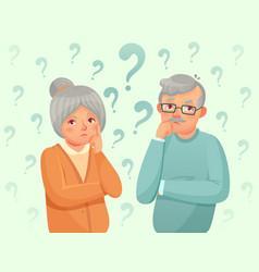 thinking seniors couple confused elderly people vector image