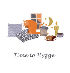 Time to hygge cozy home card vector