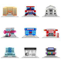 Town buildings icons set vector