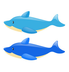 Two blue dolphins on white background vector