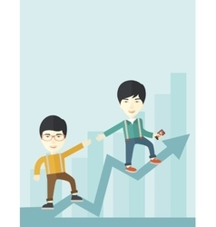 Two chinese guy walking in arrow going up vector
