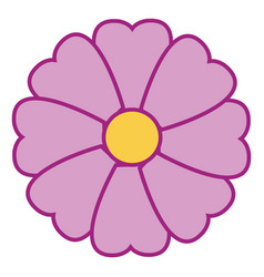 violet flower hand drawn design on white vector image