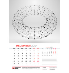 wall calendar template for december 2019 with vector image