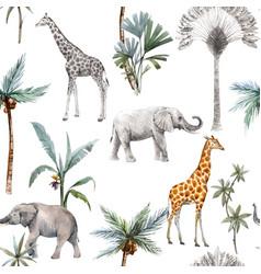 Watercolor seamless patterns with safari vector