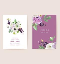 watercolor wedding black currant berries floral vector image