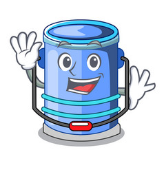 Waving cylinder bucket isometric of for mascot vector