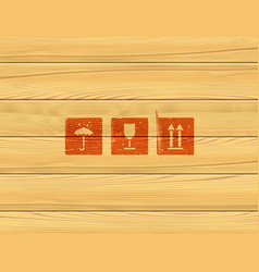 Wooden box panels simple icons set vector