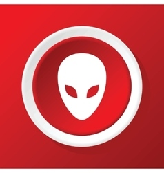 Alien icon on red vector
