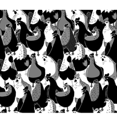 Birds chicken big group black and white seamless vector image