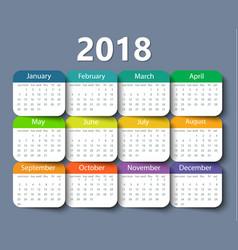 calendar 2018 year design template vector image vector image