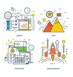 concept of survey goal recruiting career growth vector image vector image