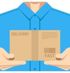 Delivery courier postal man delivering package vector image vector image