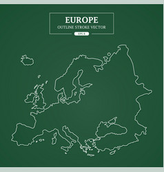 Europe map outline stroke on green background vector