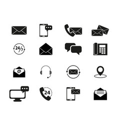 set of contacts black icons vector image vector image
