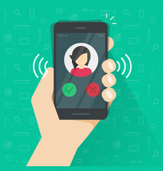 smartphone or mobile phone ringing or calling vector image vector image