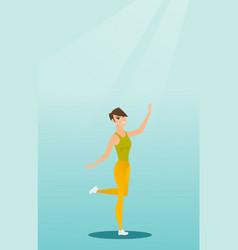 Cheerful caucasian woman dancer dancing vector