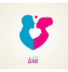 Couples silhouette kissing image vector image