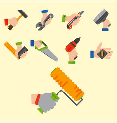 hands with construction tools worker equipment vector image vector image