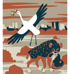 Hyena and stork vector
