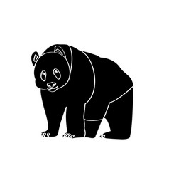 isolated panda silhouette vector image