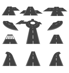 Set of sections of road and the roundabout vector image vector image