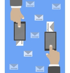 Smartphone in hand mail vector image vector image
