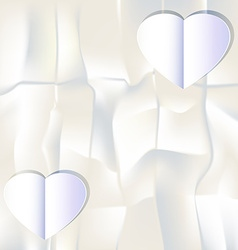 White paper heart on white paper background vector image vector image