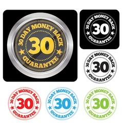 30 Day Money Back Guarantee Seal Set vector image
