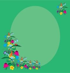 card summer flowers and ladybug vector image vector image