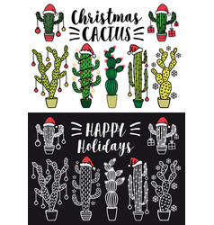 christmas cactus set christmas cactus set vector image vector image