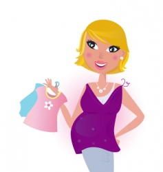 cute blond hair mom shopping vector image