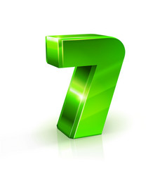 glossy green seven 7 number 3d on vector image vector image