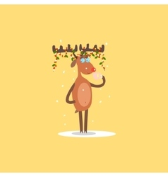 Reindeer with Garlands on the Horns vector image vector image