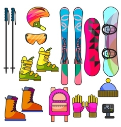 Ski and snowboard color equipment line icon vector image vector image