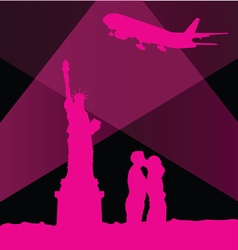 statue of liberty in new york with couple vector image