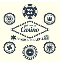 Casino emblems set vector image