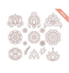 decorative hand drawn element henna style vector image
