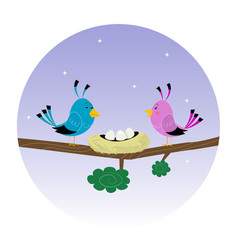 family of birds vector image vector image