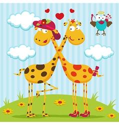 giraffes boy girl and bird vector image vector image