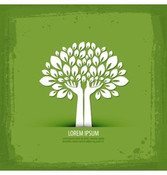 Hands and tree logo icon sign emblem template vector image