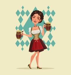 happy smiling woman with beer mug mascot character vector image