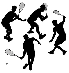 Squash players Silhouette vector image vector image