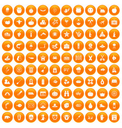 100 autumn holidays icons set orange vector