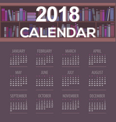 2018 dark purple book shelves library calendar vector