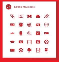 25 movie icons vector