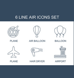 6 air icons vector